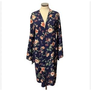 Fromos Large Blue Floral Kimono Wide Sleeves Midi